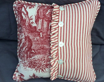 Cottage Chic Red Toile Decorative Pillow with Vintage lace, Vintage buttons with and Red Ticking Back