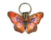 Leather butterfly keychain / key ring / bag charm - Pink Cocktail Butterfly
