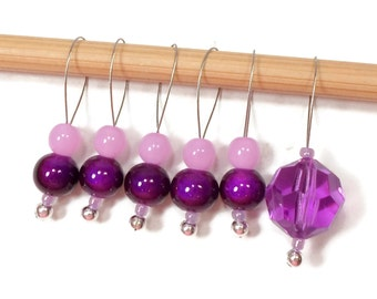 Grape Purple Knitting Stitch Markers Beaded Snagless Snag Free Knitting Markers Handmade Knitting Tools Gift for Knitter