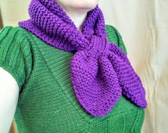 Plum Purple Miss Marple Ascot Scarf Hand Knitted
