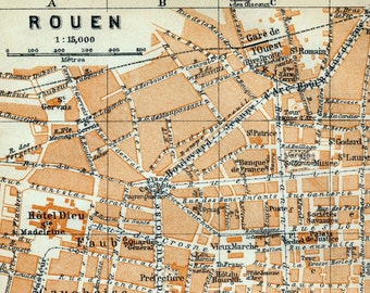 Antique Map of Rouen, France - 1902 Vintage City Map - Old City Map
