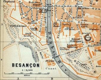 Antique Map of Besançon, France - 1905 Vintage City Map - Old City Map