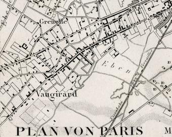 Antique Map of Paris - Black and White Paris Map - 1860 Vintage Map