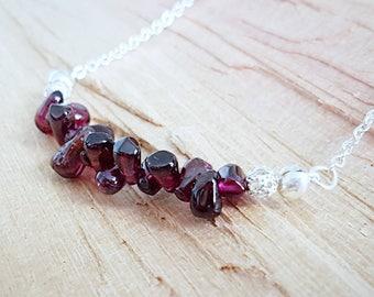 Garnet Cluster Necklace - Garnet Necklace - Silver Plated Chain Necklace - Garnet Jewelry - Garnet Jewellery