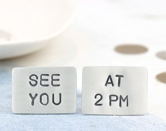 Groom cufflinks | Wedding cufflinks | Custom cufflinks | Meet me at cufflink | Personalise cufflink | Groom gift from bride | hidden message