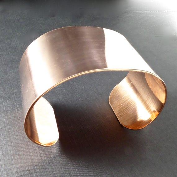 "4 Cuffs - 1-1/2"" x 6"" RAW Copper or Brass Bracelet Blank Cuff 18 Gauge RAW Unfinished Metal - Qty 4 - FLAT Blanks"