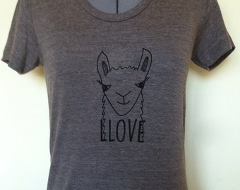 Women T-shirt-Llama-Love-Tricoffee-Small Medium Large Xlarge-Clothing-Animal