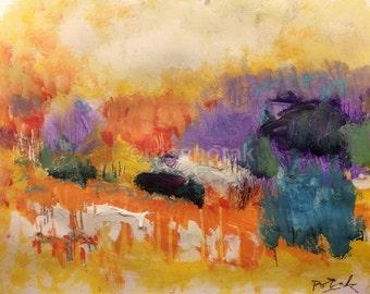 Abstract impressionist painting, modern art, , original acrylic art,  contemporary art decor, Russ Potak
