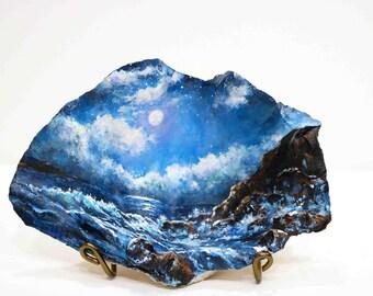 Painting Ocean Original Seashell Painting  Blue Moonlight Painting Seascape Painting  Ocean Blue Waves Sky Scene By Debora Everett