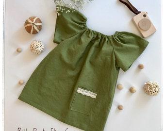 Green linen peasant dress Girls linen dress Toddlers dress Baby linen dress Smock linen dress Green linen short sleeves dress Vintage dress