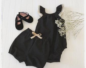 Black linen romper, baby black linen romper, girls black linen playsuit, black linen playsuit, toddler linen romper, boho style linen romper