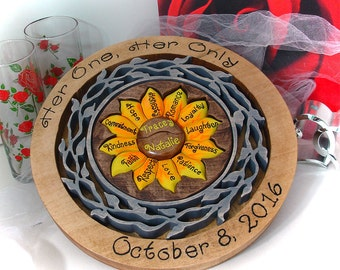 Custom Designed Sunflower Unity Ceremony Wedding Puzzle Blend Family Wedding Unity Puzzle Personalized Wedding Gift Custom Anniversary Gift