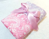CLEARANCE SALE - NOW just 20 dollars - Ready to Ship - Minky Baby Blanket - Pink Paisley with Lavender Paisley  Minky - Crib  Size