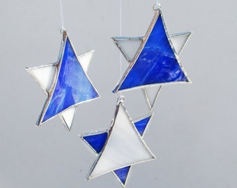 Set of Three Stained Glass White and Blue Star Ornaments or Suncatcher for Hanukkah