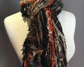 Fringie in Full Throttle, Multi-texture hand tied fringe scarf,  in Harley Davison colors, black orange, boho, fur scarf, fall color scarf