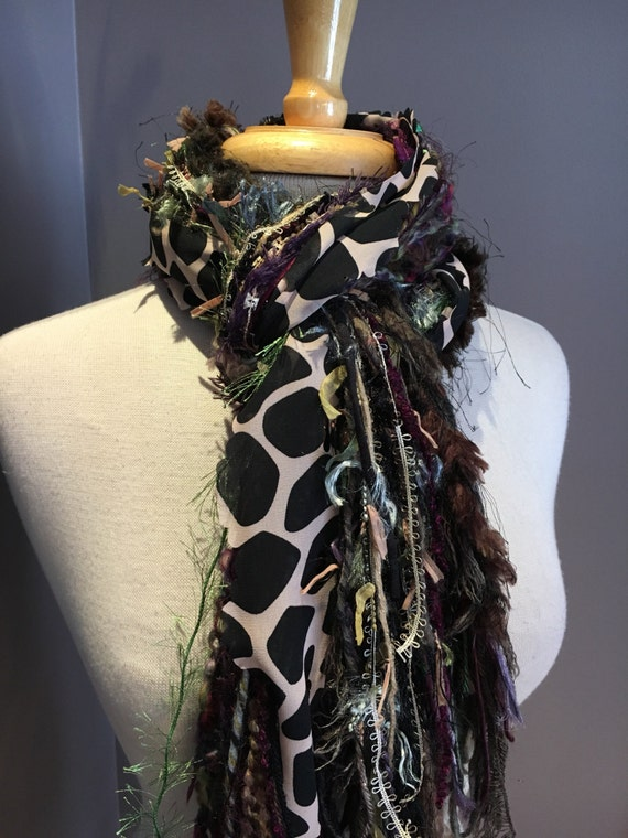 Fringie in Jungle Giraffe, Handmade tied scarf, photo prop in maroon, brown, green, fringe scarves, boho gifts, green scarves, tribal