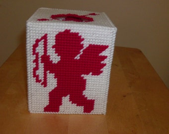 Cupid Tissue Box Cover, Valentines Day Tissue Box Cover, Needlepoint Cupid Tissue Box