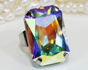 AB Ring Crystal Bridal Statement Swarovski AB Crystal Ring Aurora Borealis Ring Adjustable Statement AB Oversize rectangle rainbow,Gold,GR59