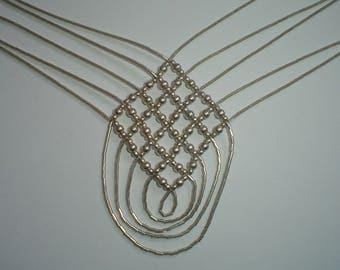 Liquid silver necklace sterling lattice crossover beaded vintage southwestern native American