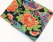 Asian Floral Cotton Fabric, 3/4 yard in 2 Pieces Itaya Naomi Design, Large Flowers on Black Background, Quiltsy Destash