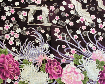 Asian Cranes Panel Cotton Fabric, Purple Oriental Fabric Panel, Japanese Kaufman Imperial Collection, Purple Fabric, Quiltsy Destash