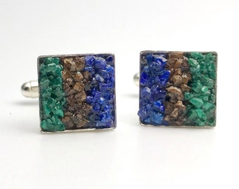 Mosaic Cuff Links - Malachite, Lapis and Bronzite