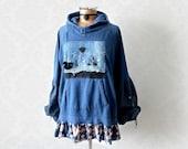 Blue Boho Hoodie Shabby Chic Jacket Pullover Jumper Art To Wear Hooded Tunic Frayed Denim Bell Puffy Sleeves Bohemian Clothing L XL 'BRONWYN