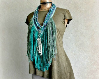 Boho Layer Scarf Long Fringe Emerald Green Upcycled Necklace Recycled Jeans Women Art Jewelry Tribal Bohemian Tassel Scarf 'INDYAH'