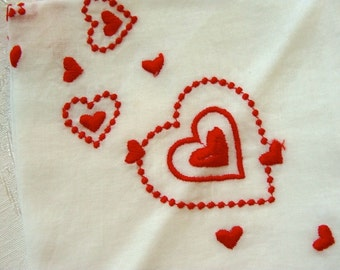 One Vintage Valentine Embroidered Hankie N0 61
