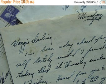 ON SALE Antique Handwritten Love Letter from Bill to Maggie Darling WWII