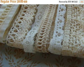 ON SALE Vintage and Antique Lace Lot for Fabric Books