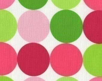 """SALE FABRIC - Disco Dot Sorbet by Michael Miller Fabrics - 100% Cotton Fabric - 34"""" remnant - Hot Pink and Lime Green Polka Dots"""