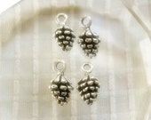 4 Silver Pinecone charms, Antique Silver Pinecone charms 4