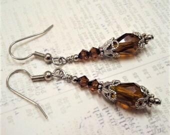 Smoked Topaz Crystal Earrings, Antique Silver Filigree Earring, Juliet Earrings, Vintage Wedding, Brown Crystal Earrings, Mothers Day, Brown