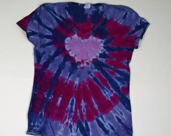 Rustic Heart ~ Spiral Tie Dye T-Shirt  (Fruit of the Loom Heavy HD Ladies V-neck Size L) (One of a Kind)
