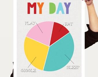 colourful baby art poster - my day pie chart print - eat sleep play giggle, children room decor for baby girl or baby boy, fun nursert art