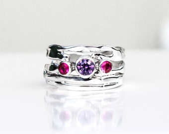 Amethyst and Corundum Ring, Sterling Silver Amethyst Pink Ruby Organic Design Ring, Recycled Silver Ring, Multi Stone Ring, Mothers Ring