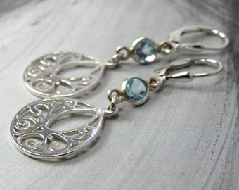 Blue Topaz Teardrop Earrings, Sterling Silver Filigree Metal, Natural Stone Dangle, Geometric December Birthstone Jewelry Ready to Ship Gift