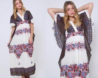 Vintage 70s FLORAL Maxi Dress BUTTERFLY Sleeve Boho Dress Printed Hippie Dress GRADIENT Floral Festival Dress