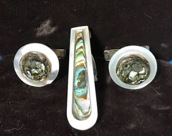 Vintage Abalone Mother of Pearl Cuff Links and Tie Clip