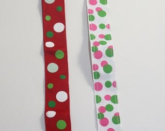 Personalized Pacifier Clip with metal clip- Dots Print; Red and Green, Pink and Lime- Mam Gumdrop Nuk Avent Soothie Binky Clips