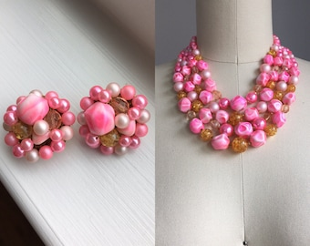 Vintage 1950s Pink and Glitter Lucite Beaded Multi Strand Choker Necklace with Clip On Earrings Set