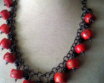 Red Coral Drum Bead Dangle Necklace