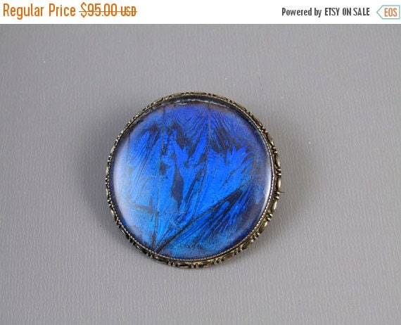 Holiday Sale Signed Thomas Mott TLM England morpho butterfly wing under glass sterling silver vintage brooch pin