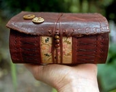 The Muse - Brown Recycled Leather Journal, Fabric Patch, Aged Paper, OOAK