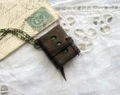 Hinterlander - Miniature Wearable Book, Dark Brown Leather, Deep Green Pages - OOAK