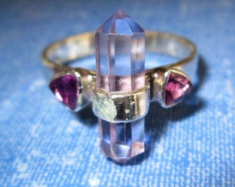 RING -  CRYSTAL - ALEXANDRITE - Color Change  - Purple - Blue - Double Amethyst  - 925 - Sterling Silver  - size 9 1/2 purple395