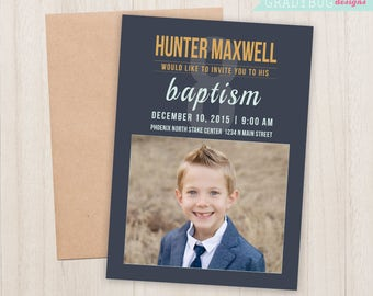 LDS Baptism Invitation, Boys Baptism Announcement, Navy Blue, Great to be 8, Baptism Invite, LDS Baptism Boy, CTR, Baptism Card, Lds Primary