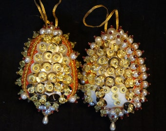 Vintage Hand Beaded and Sequined Egg Shaped Ornaments Set of 2  Gold Red and White