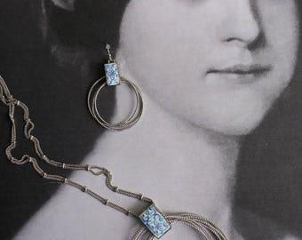 Necklace Earrings Tile Portugal SET Portuguese Antique Azulejo  - Hoops - AVeIRO Santa Joana Convent 1458  - Ships from USA